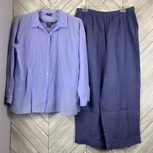 Eileen Fisher purple outfit Top m, tank L, pants L